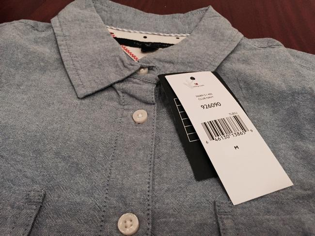 Tommy Hilfiger Chambray Chambray Shirt Roll Tab Shirt Chambray Shirt Button Up Chambray Roll Up Shirt Roll Up Sleeves Wear To Work Button Down Shirt Blue