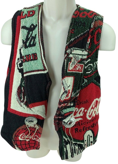 Coca-Cola Red Vintage Tapestry Woven Patchwork New with Tag 872170 Vest Size 12 (L) Coca-Cola Red Vintage Tapestry Woven Patchwork New with Tag 872170 Vest Size 12 (L) Image 1