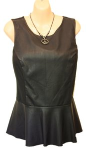 Bar III Faux Leather Top Black