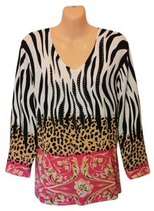 Peck & Peck Knit Soft Layered Top Black/White/Pink
