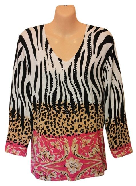 Preload https://item4.tradesy.com/images/peck-and-peck-blackwhitepink-blouse-size-12-l-2688358-0-0.jpg?width=400&height=650