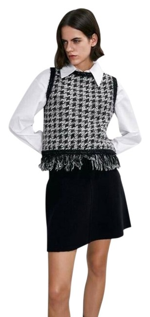 Item - Black White Knit Tweed Fringed Sweater Vest Size 12 (L)