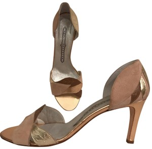 Ashley Dearborn Leather Suede Sandal Made In Italy Size 10 Beige rose gold brown multi Pumps
