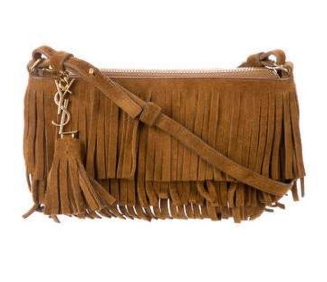Item - Fringe Tassel Brown Suede Leather Cross Body Bag