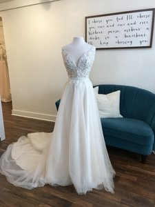 Maggie Sottero Ivory Over Soft Blush Tulle and Lace Eunice 9rc082 Casual Wedding Dress Size 8 (M)