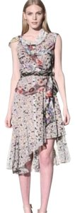 Anthropologie Byron Lars Wilderflora Flounce Draped Chiffon Dress