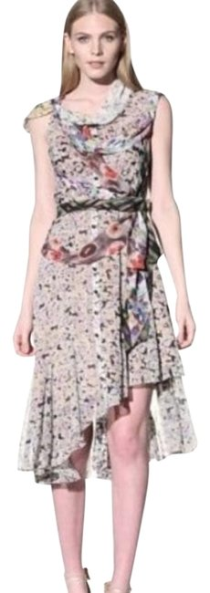 Item - Multicolor Byron Lars Wilderflora Flounce Layered Chiffon Sz4 Mid-length Cocktail Dress Size 4 (S)