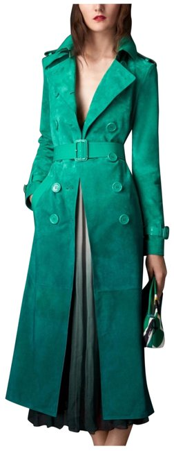 Item - Bright Peacock Green Degrade Suede with Patent Trim Coat Size 6 (S)