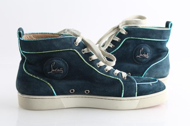 Item - Blue Louis Orlato Suede Metallic Trim High Tops Shoes