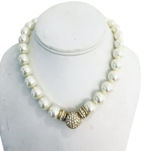 Dior Crystal & Pearl Bead Strand Necklace