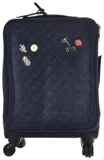 Item - Coco Cuba Trolley Luggage Rolling Carry On Cuba Suitcase Blue Denim and Leather Weekend/Travel Bag