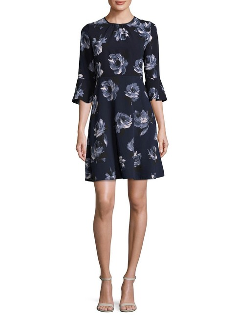 Item - Navy- Printed New Night Rose Crepe Day Short Cocktail Dress Size 10 (M)