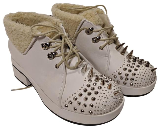 Item - White Victor Spike Leather Ankle Boots/Booties Size EU 37.5 (Approx. US 7.5) Regular (M, B)