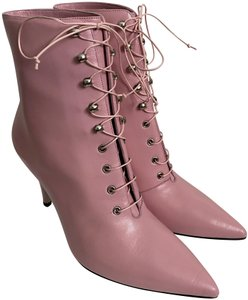 Calvin Klein 205W39NYC Pointed Toe Lace Up Leather Pink Boots