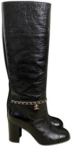 Chanel Leather Logo Cap Toe Chain Black Boots