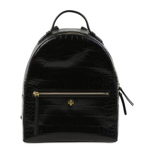 Tory Burch Crocodile Embossed Leather Gold Hardware Backpack
