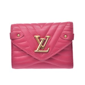 Louis Vuitton LOUIS VUITTON Louis Vuitton New Wave Compact Wallet Freesia M63821 Ladies Leather Tri-Fold