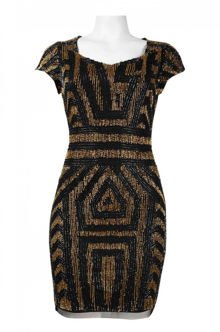 Item - Black Gold Short Cocktail Dress Size 6 (S)