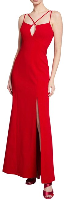Item - Red Keyhole Slit A-line Gown Long Night Out Dress Size 0 (XS)
