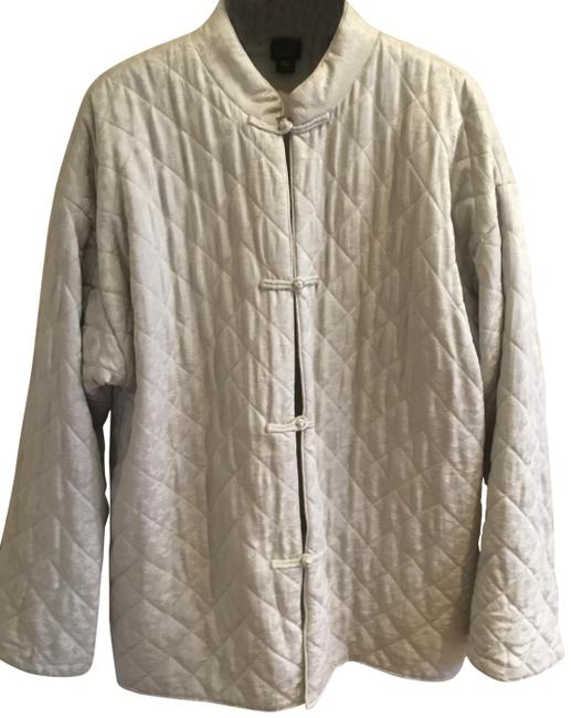 Item - Silver Diamond Quilted Silk Coat Size 14 (L)