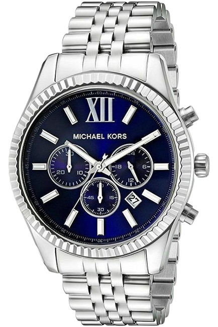 Item - Silver Lexington Stainless Blue Dial Chronograph Mk8280 Watch
