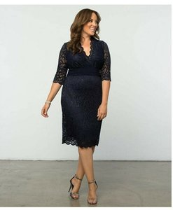 Kiyonna Lace Plus-size 5x Navy Party Dress