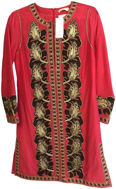 Item - Fuchsia Brown Gold Embroidered Caftan/Dress Style#54825 Mid-length Short Casual Dress Size 4 (S)