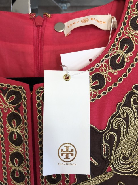 Tory Burch Fuchsia Brown Gold Embroidered Caftan/Dress Style#54825 Mid-length Short Casual Dress Size 4 (S) Tory Burch Fuchsia Brown Gold Embroidered Caftan/Dress Style#54825 Mid-length Short Casual Dress Size 4 (S) Image 3
