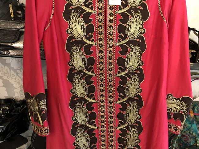 Tory Burch Fuchsia Brown Gold Embroidered Caftan/Dress Style#54825 Mid-length Short Casual Dress Size 4 (S) Tory Burch Fuchsia Brown Gold Embroidered Caftan/Dress Style#54825 Mid-length Short Casual Dress Size 4 (S) Image 5