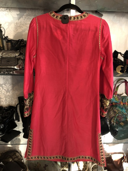 Tory Burch Fuchsia Brown Gold Embroidered Caftan/Dress Style#54825 Mid-length Short Casual Dress Size 4 (S) Tory Burch Fuchsia Brown Gold Embroidered Caftan/Dress Style#54825 Mid-length Short Casual Dress Size 4 (S) Image 7