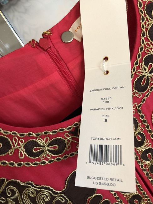 Tory Burch Fuchsia Brown Gold Embroidered Caftan/Dress Style#54825 Mid-length Short Casual Dress Size 4 (S) Tory Burch Fuchsia Brown Gold Embroidered Caftan/Dress Style#54825 Mid-length Short Casual Dress Size 4 (S) Image 8