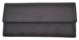 Gucci Gg Canvas Leather Continental Wallet Black Clutch