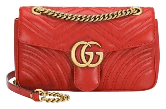Item - Shoulder Gg Small Mormont Red Lambskin Leather Cross Body Bag