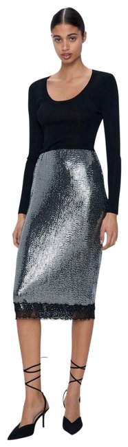 Item - Silver New S Lace Trim Sequin Pencil Ref 2298/459 Skirt Size 4 (S, 27)