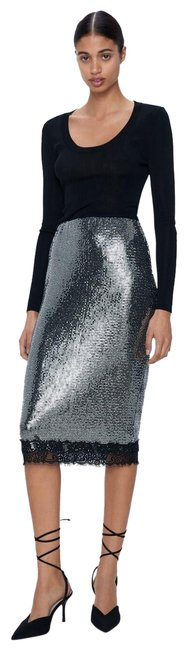 Item - Silver L New Lace Trim Sequin Pencil Ref 2298/459 Skirt Size 12 (L, 32, 33)