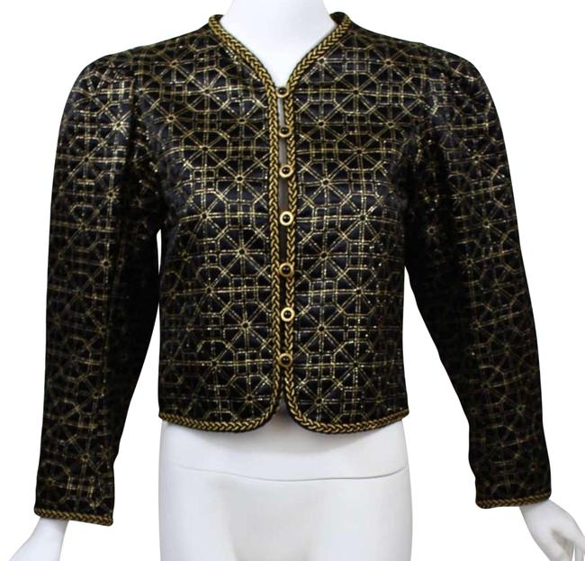 Item - Rive Gauche Black W/ Gold Embroidery Top