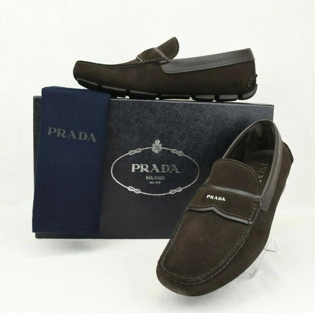 Item - Brown 2dd137 Suede Leather Logo Driving Moccasins Loafers 7 Us 8 Shoes