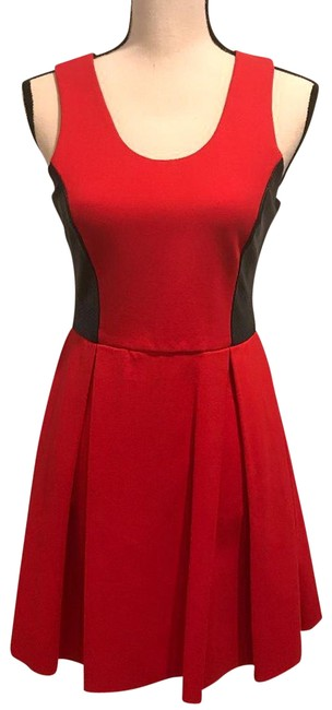 Item - Red London Bright and Black Leather Mid-length Night Out Dress Size 10 (M)