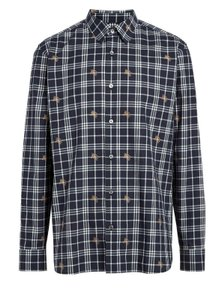 Burberry Navy XL Edward Cotton Knight Logo Nova Ip Check Classic Shirt