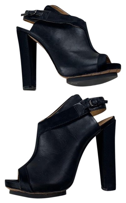 Item - L Leather Satin Open Toe Sling Back Heel Boots/Booties Size US 9 Regular (M, B)
