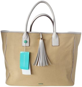 Melissa Odabash Leather Cotton Tote in Beige