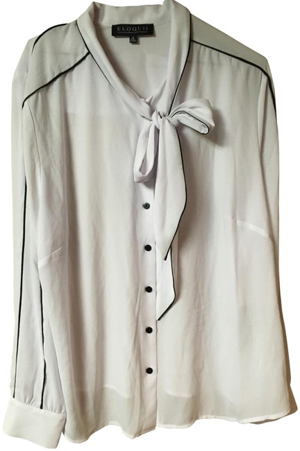 Eloquii White/Black Blouse Size 18 (XL, Plus 0x) Eloquii White/Black Blouse Size 18 (XL, Plus 0x) Image 1