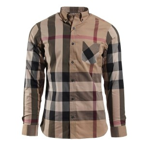 Burberry Beige Thornaby Camel Cotton Red Black Nova Check Long Sleeve Shirt