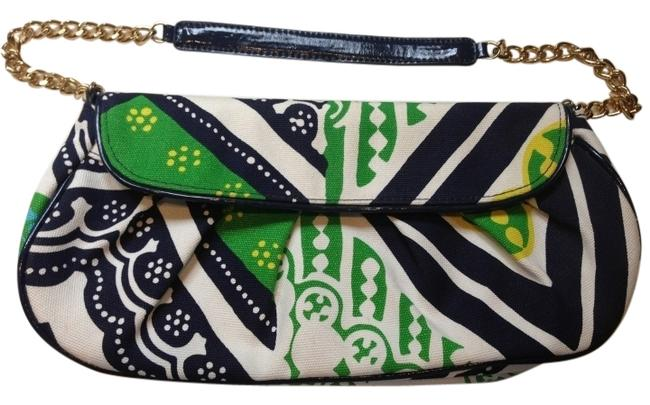 Item - Navy with Green and White Clutch