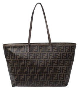 Fendi Canvas Leather Tote in Brown