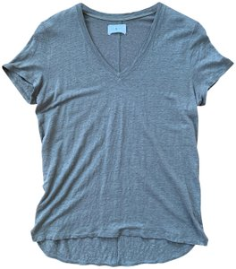 Lou & Grey Linen V-neck Sleeve Rounded Hem T Shirt Sage Green