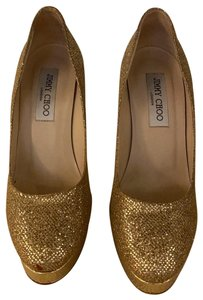 Jimmy Choo Gold glitter Platforms