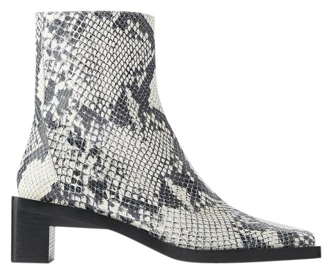 Item - Gray Square Heeled Leather Ankle Animal Snake Boots/Booties Size US 6.5 Regular (M, B)