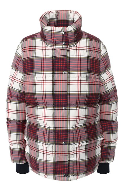 Burberry White Selsey Quilted Red Check Down Puffer Jacket Coat Size 4 (S) Burberry White Selsey Quilted Red Check Down Puffer Jacket Coat Size 4 (S) Image 1