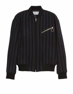 Item - Black Navy Striped Wool Blend Bomber Jacket